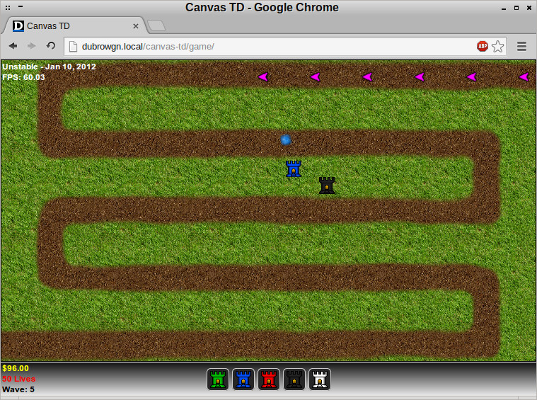 Canvas TD running in Google Chrome under CrunchBang Linux